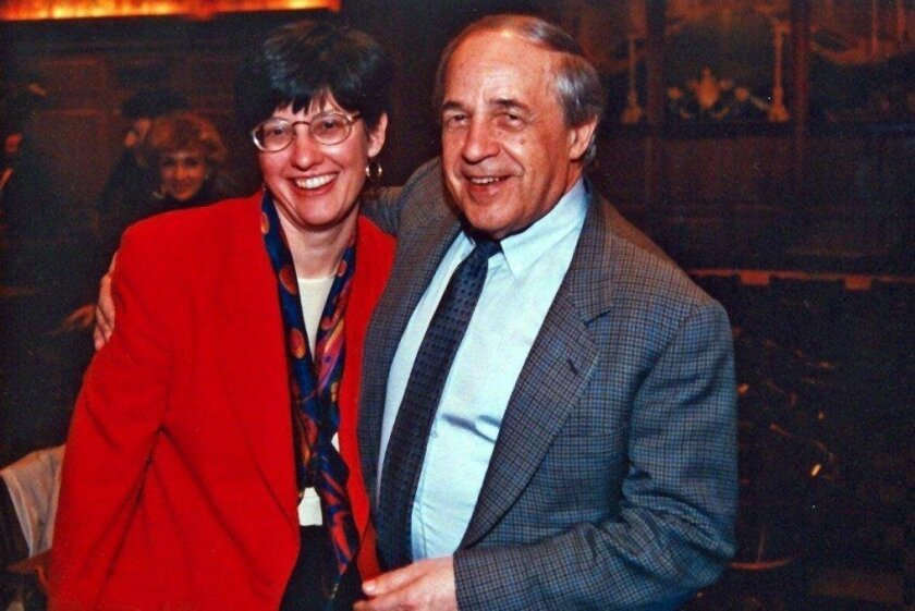 Pierre Boulez and Martha Gilmer celebrate after a 1995 concert.