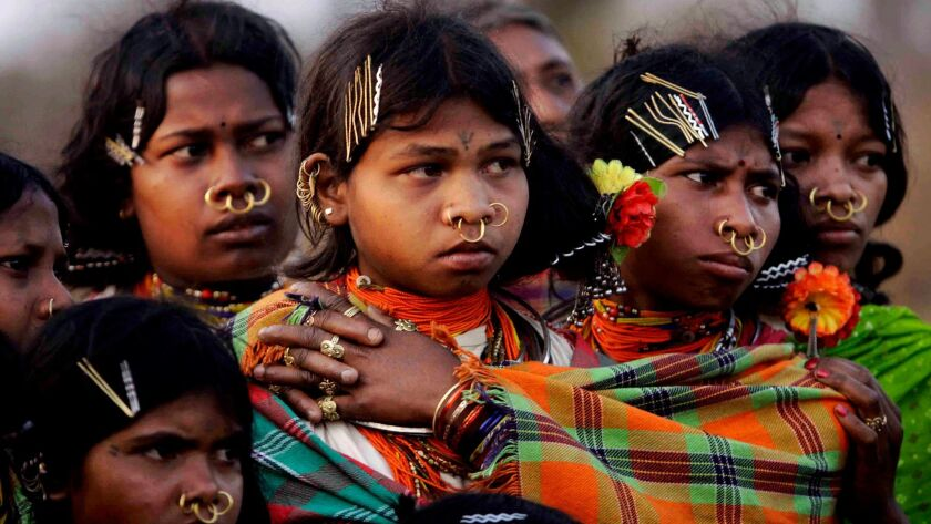 Girls of Dongaria Kondh, an 8,000-strong tribe of indigenous people in India, pictured in 2012.