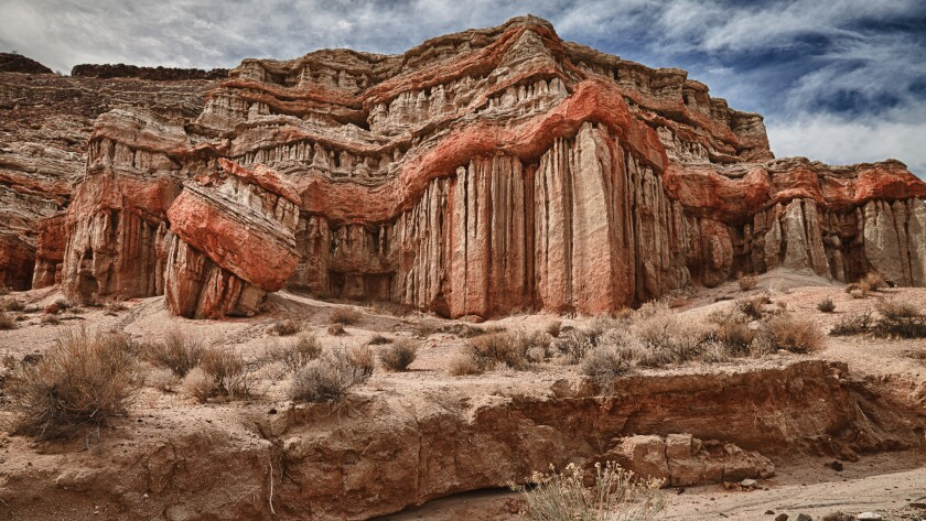 Vertical striations lend a sense of otherworldliness to the formations at Red Rock Canyon State Park