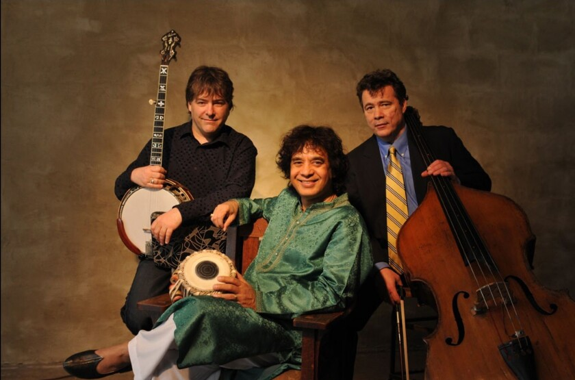 Banjo innovator Bela Fleck, Indian tabla master Zakir Hussain and cello great Edgar Meyer will perform together Wednesday at the Balboa Theater as part of La Jolla Music Society's 51st season.