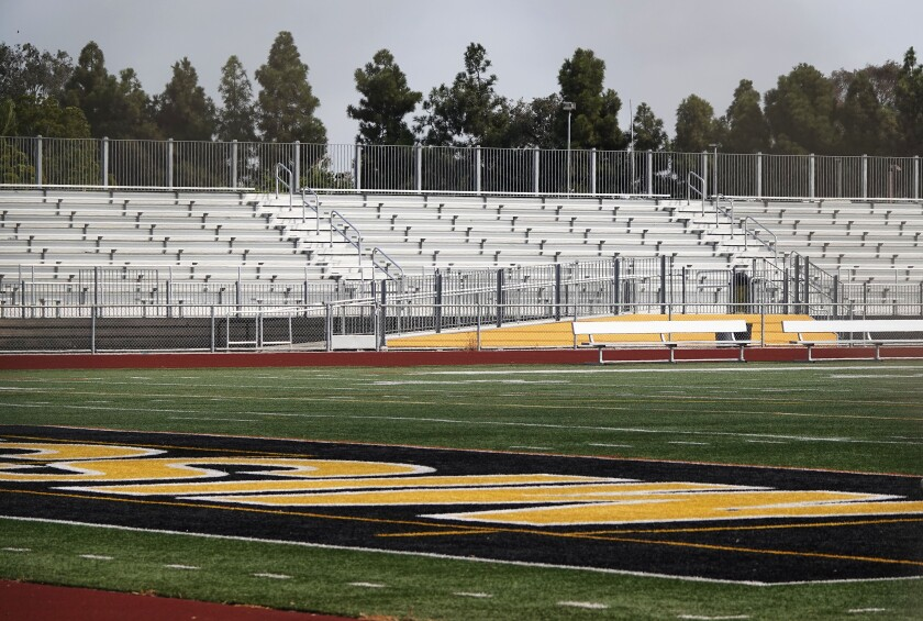 The football field sits empty at Mission Bay High