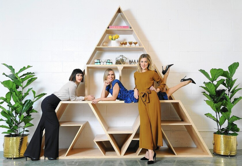 The Streichers — from left, makeup artist Jenn, brow expert Kristie and hair stylist Ashley — are opening Striiike beauty studio on Tuesday in Beverly Hills.