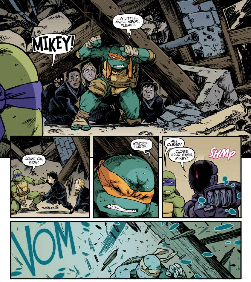 "A panel from the 100th edition of IDW Publishing's ""Teenage Mutant Ninja Turtles"" series, released on Dec. 11, 2019."