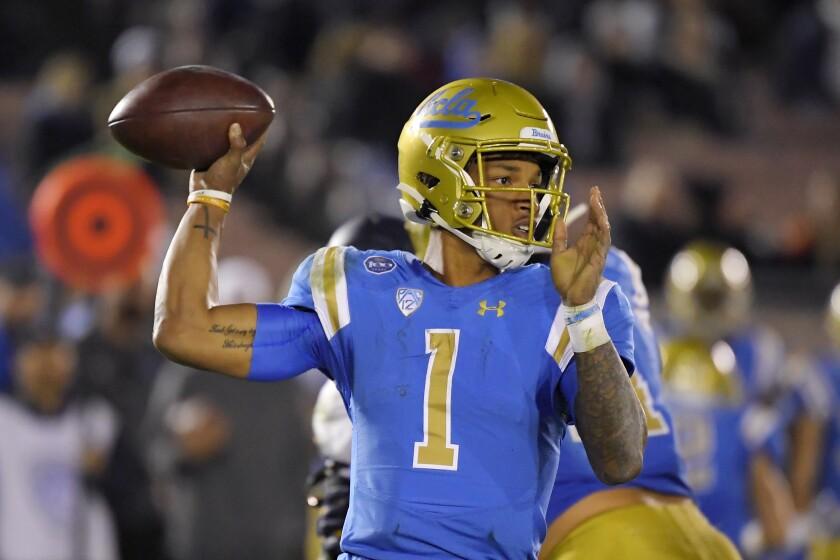 UCLA quarterback Dorian Thompson-Robinson passes during a game against California.