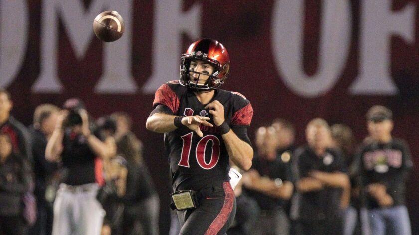 SAN DIEGO, September 16, 2017 | The Aztecs' quarterback Christian Chapman throws a pass in the fourt