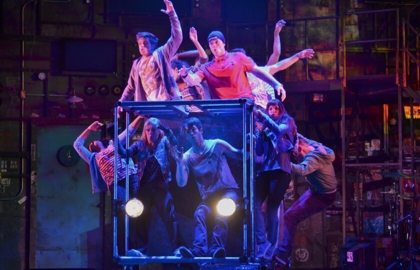 """A scene from the touring production of """"American Idiot,"""" now being presented by Broadway/San Diego at the Civic Theatre downtown."""