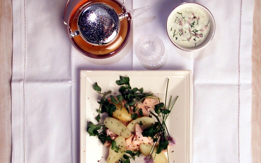Poached Salmon and Potato Salad With Fresh Herb Sauce