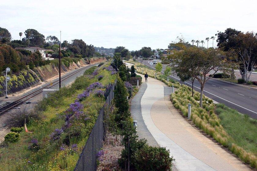 An existing stretch of the Coast Rail Trail in Solana Beach. Courtesy