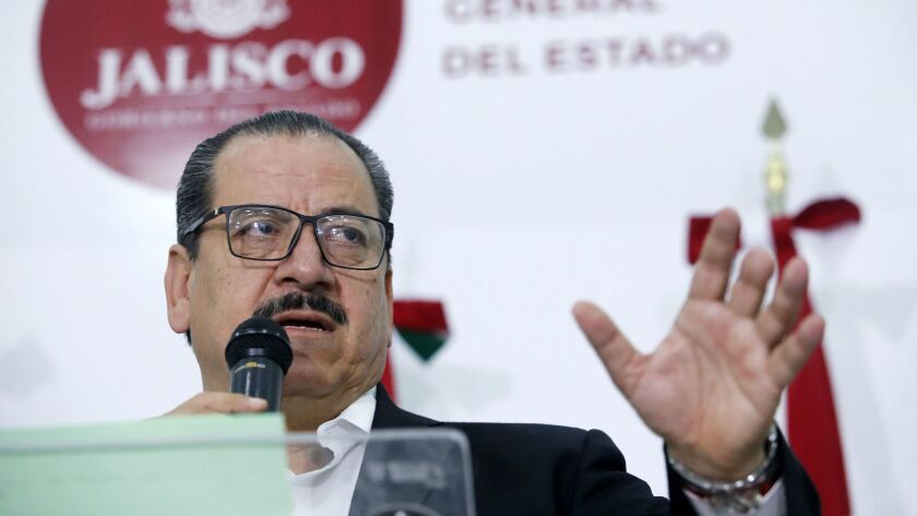 Atty. Gen. Raul Sanchez speaks at a news conference in Guadalajara on Feb. 24, 2018.