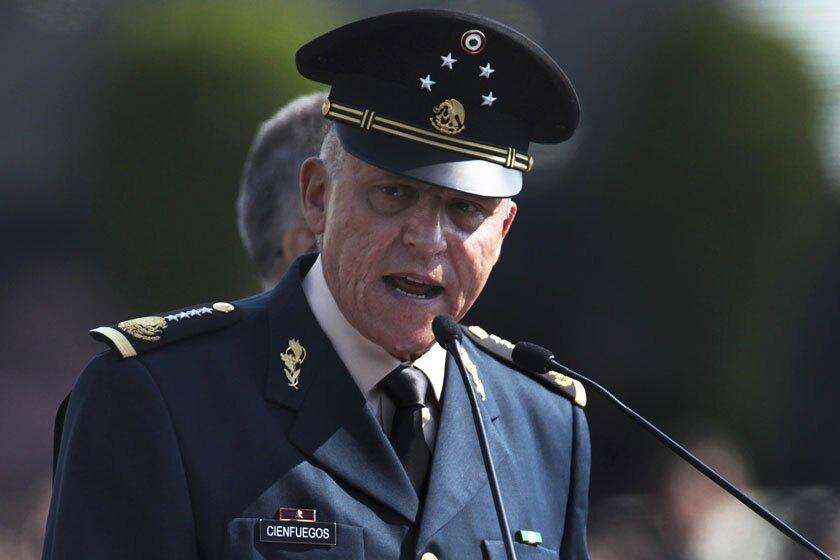 Gen. Salvador Cienfuegos of Mexico gives a speech in military uniform