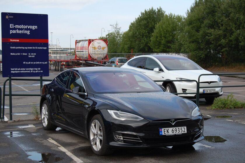Teslas in a parking lot