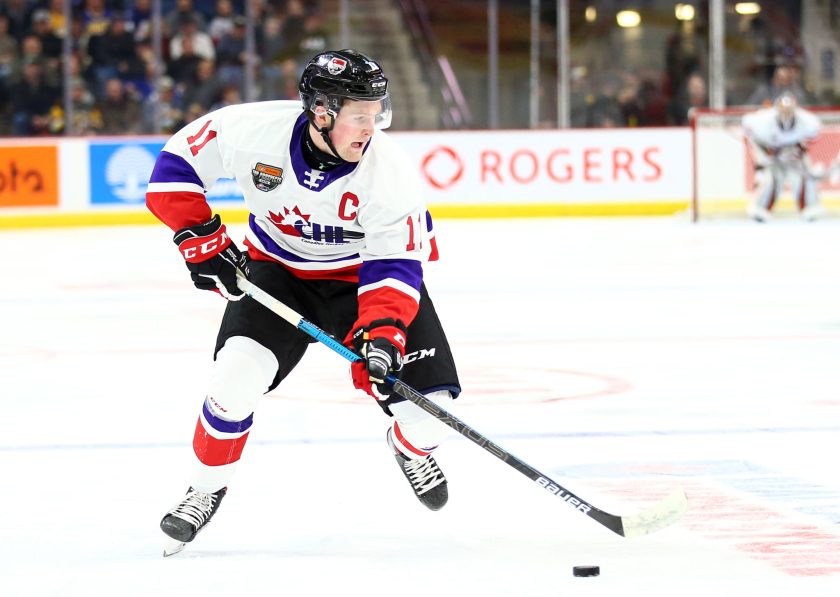 Alexis Lafreniere controls the puck during the 2020 CHL/NHL Top Prospects Game.