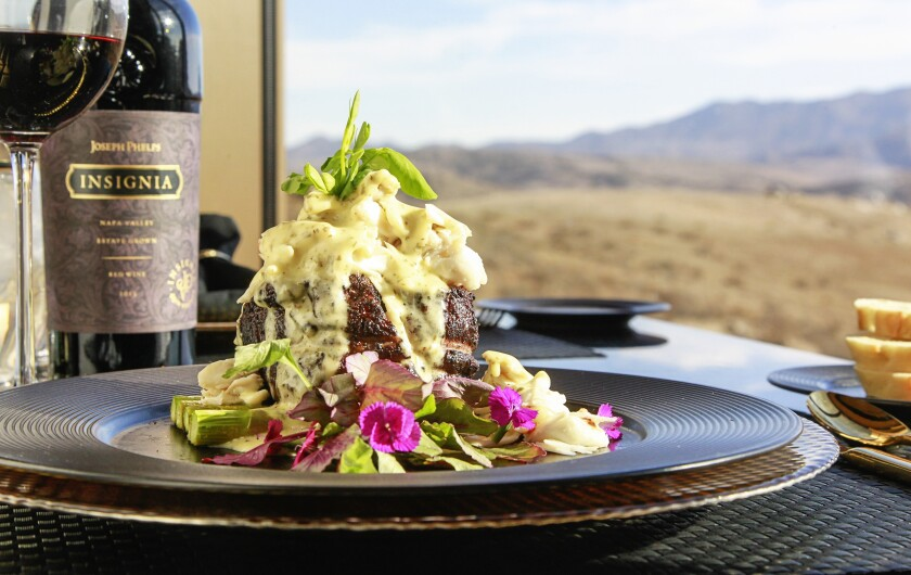 The 10-ounce filet Oscar at Jamul Casino's Prime Cut steakhouse is paired with an iconic Napa red, Joseph Phelps Insignia.