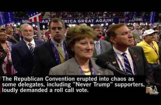 Republican Convention floor erupts in chaos during Rules Committee vote