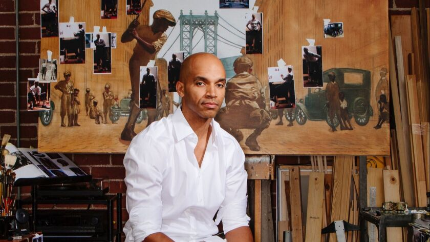 LOS ANGELES, CALIFORNIA - NOVEMBER 21: Artist Kadir Nelson at his studio in downtown Los Angeles, Ca
