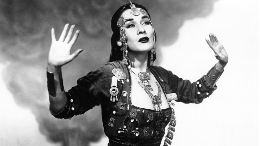 """Yma Sumac poses for a portrait seen on the cover of her legendary 1950 album, """"Voice of the Yxtabay."""""""