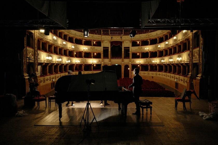 "Hershey Felder rehearses ""George Gershwin Alone"" at Teatro Della Pergola in Italy."