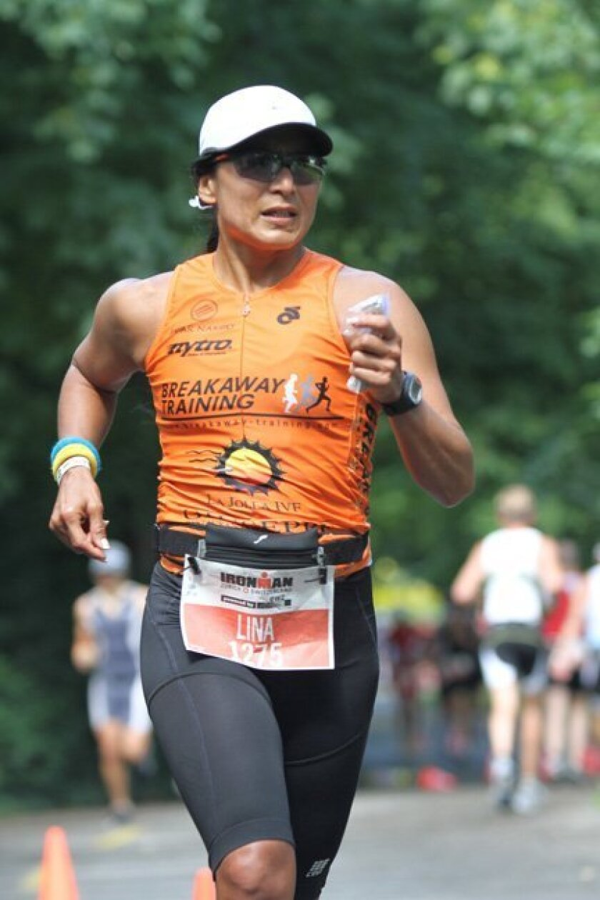 Lina Ramos runs during the Ironman in Zurich, Switzerland earlier this month. Courtesy