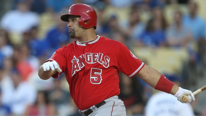 Angels first baseman Albert Pujols against the Dodgers on Aug. 4.