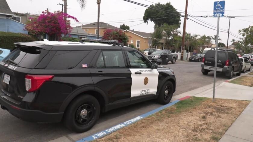 San Diego police patrol SUV parked on residential street