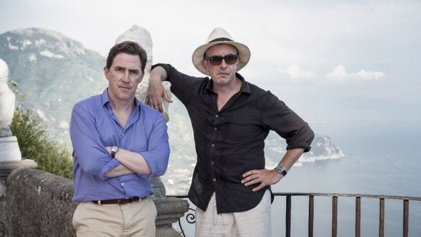 "Rob Brydon, left, and Steve Coogan in Michael Winterbottom's movie ""The Trip to Italy."""