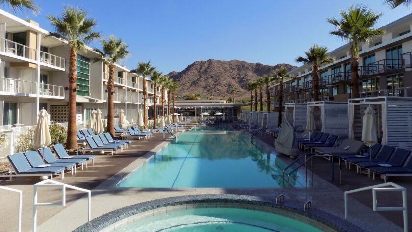 The pool at Mountain Shadows resort has a mountain backdrop.