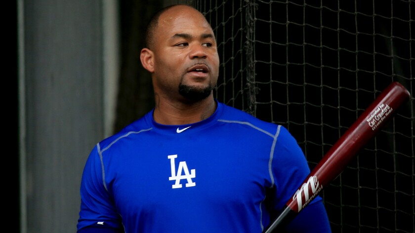 Former Dodgers outfielder Carl Crawford takes part in batting practice.