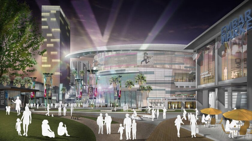 The Seaport Village redevelopment project proposed by OliverMcMillan and AEG would include an 18,000-seat arena, hotels, restaurants and shops.