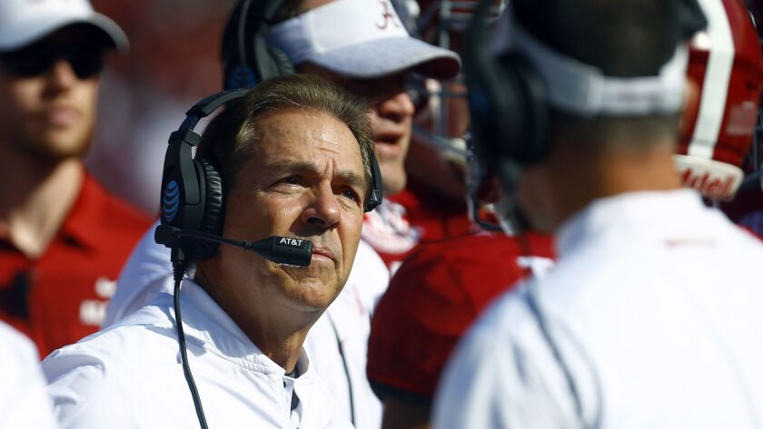 Alabama coach Nick Saban watches the replay of a fumble during the first half of the Crimson Tide's game against Citadel on Saturday.