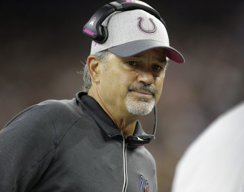 FILE - In this Thursday, Oct. 8, 2015,  file photo, Indianapolis Colts head coach Chuck Pagano looks on during the first half of an NFL football game in Houston. With 21 teams not owning winning records through eight weeks, it's no wonder coaches from coast to coast are on the firing line. It's als
