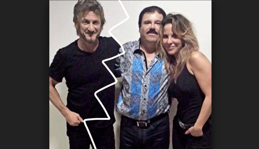 El actor Sean Penn (i) con 'El Chapo' Guzmán y la actriz Kate del Castillo, en octubre de 2015.