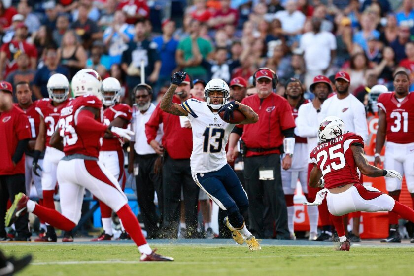 Chargers wide receiver Keenan Allen (13) looks for an opening against the Arizona Cardinals.