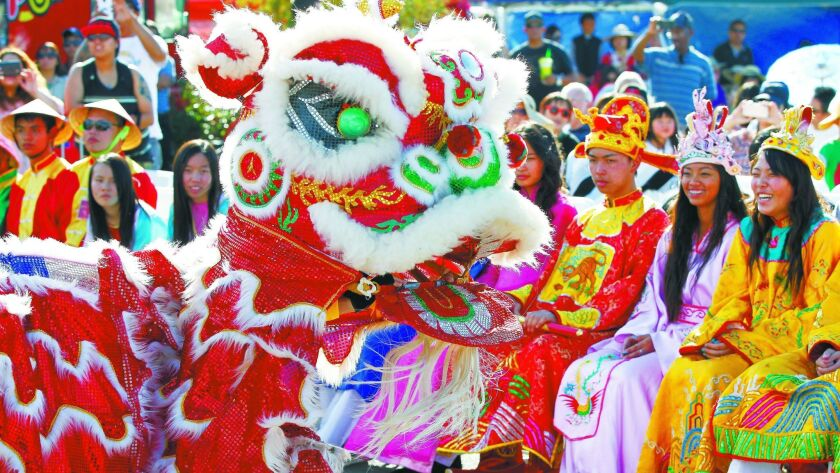 SAN DIEGO, CA: FEBRUARY 4, 2017 | The San Diego Lucky Lion Dancers perform Saturday during the seco