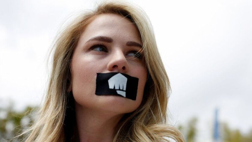 Jessica Kent joins a walkout at Riot Games in protest of the company's move to force arbitration on two sexual harassment lawsuits. Kent is one of the two plaintiffs in suits against Riot Games.