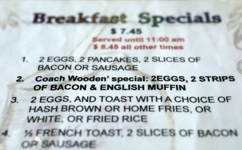 John Wooden's favorite dish is listed on the menus at VIP's Cafe as Coach Wooden's special.