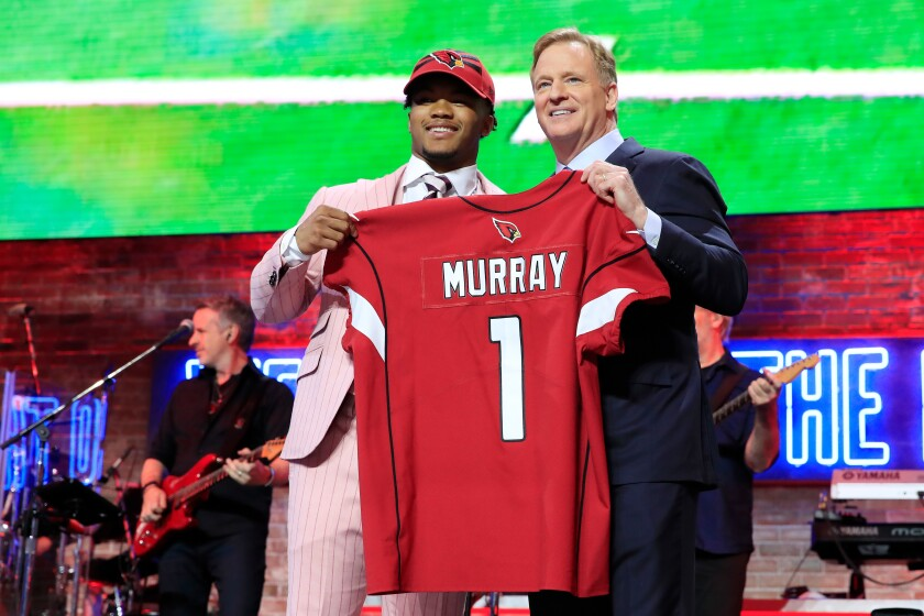 Kyler Murray of Oklahoma poses with NFL Commissioner Roger Goodell after he was picked No. 1 overall by the Arizona Cardinals during the first round of the 2019 NFL Draft on Thursday in Nashville, Tenn.