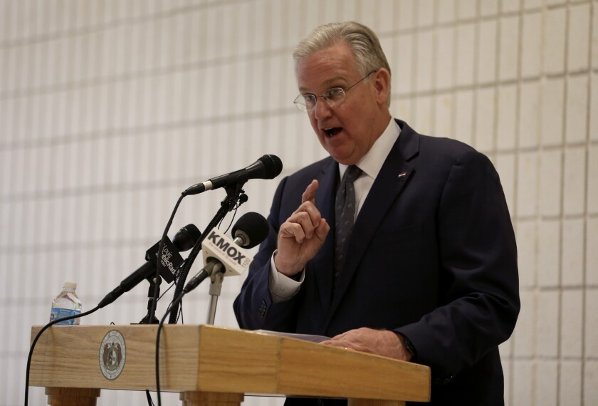 Missouri Democratic Gov. Jay Nixon, shown in May 1 at a St. Louis, school, has rejected a bill that would have required women to wait 72 hours before getting an abortion.