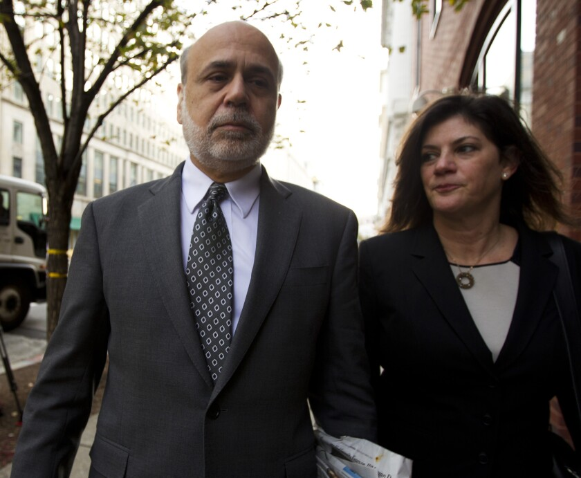 Former Federal Reserve Chairman Ben Bernanke arrives at the U.S. Court of Federal Claims in Washington to testify in a suit on the U.S. government's 2008 bailout of AIG.