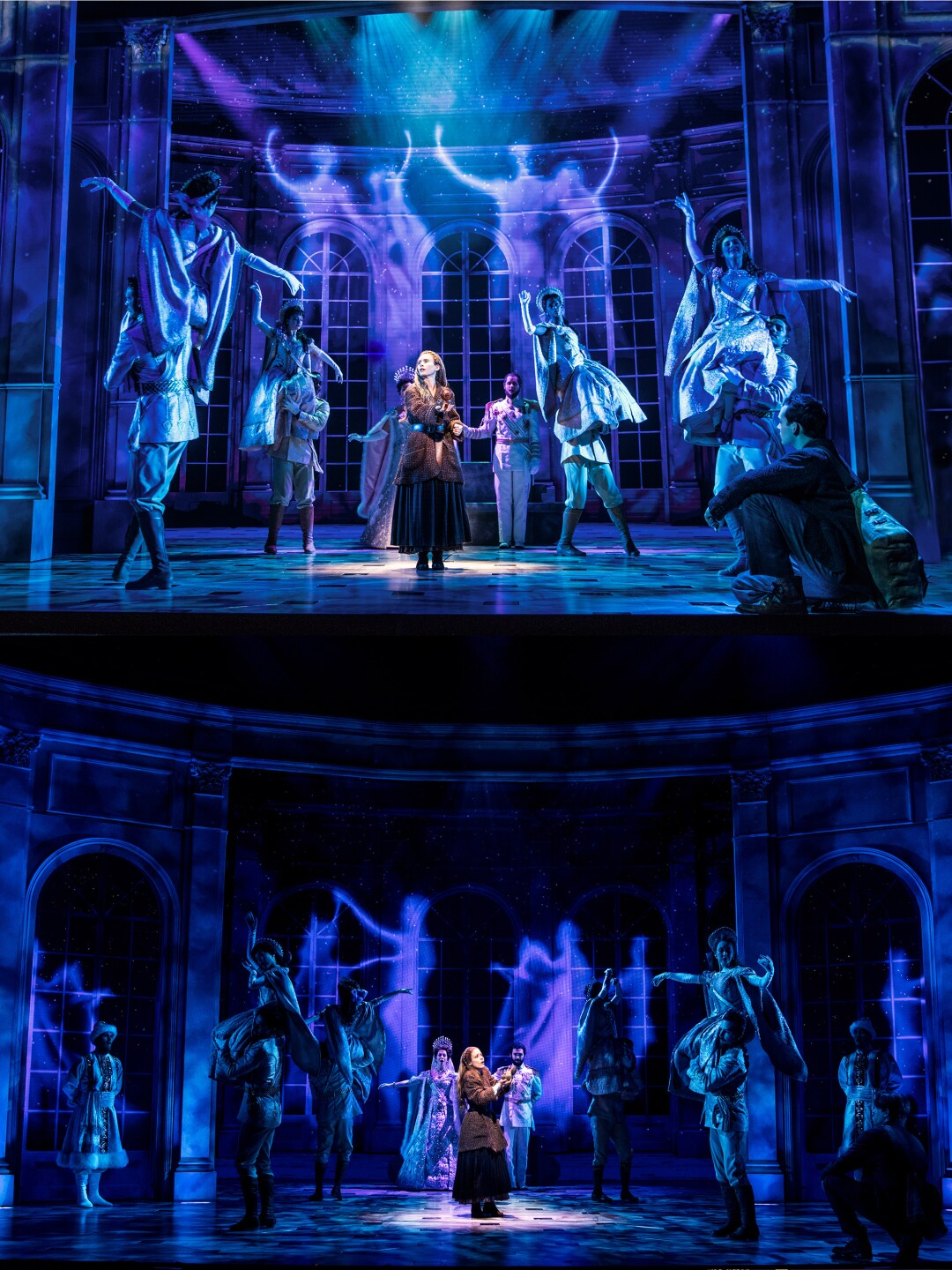 "Nearly identical scenes from ""Anastasia,"" starring Lila Coogan, top, in the national tour, and Christy Altomare on Broadway."