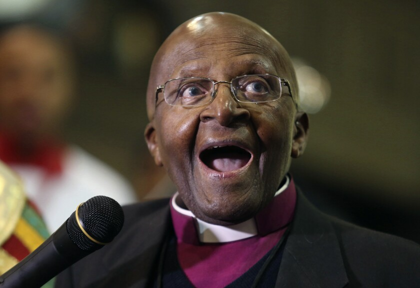 FILE - In this July 2016 file photo, Anglican Archbishop Emeritus Desmond Tutu celebrates four decades of episcopal ministry at a special thanksgiving Mass at St Mary's Cathedral in Johannesburg. As South Africa's anti-apartheid icon Archbishop Desmond Tutu turns 90, recent racist graffiti on a portrait of the Nobel winner highlights the continuing relevance of his work for equality. Often hailed as the conscience of South Africa, Tutu was a key campaigner against South Africa's previous brutal system of oppression against the Black majority. (AP Photo/Denis Farrell, File)