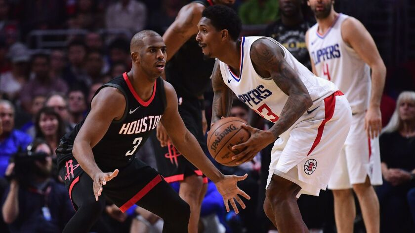 Houston's Chris Paul, left, guards the Clippers' Lou Williams on Jan. 15 at Staples Center.