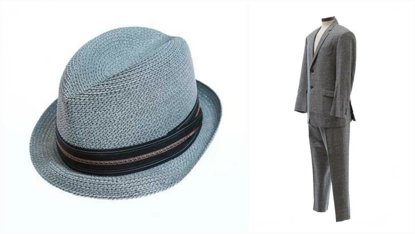 """Among the """"Mad Men"""" items up for bid at online auction starting July 31 are a blue straw Pinzano fedora, left, and a Brooks Brothers suit, right, both worn by Don Draper over the course of the show's seven-season run."""