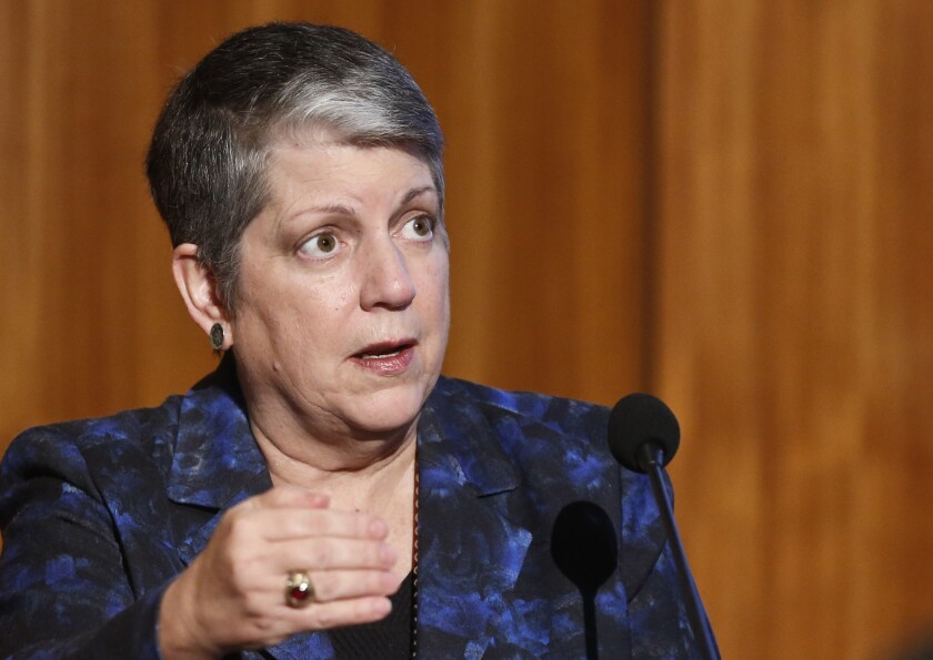 "Janet Napolitano, the President of the University of California, speaks at Carbon Neutrality Initiative at the University of California-San Diego Tuesday, Oct. 27, 2015, in San Diego. Napolitano says reducing the human carbon footprint is a ""moral imperative"" and vows to turn the system's 10 campuses into a living laboratory for solutions. (AP Photo/Lenny Ignelzi)"