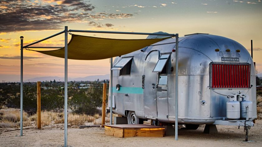 You can stay in an Airstream without moving it at Kate's Lazy Desert in Landers, Calif. Each of the six trailers has an original interior design by an artist.