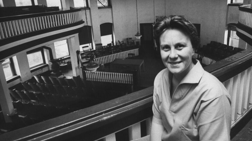 Harper Lee in the courthouse in Monroeville, Ala.