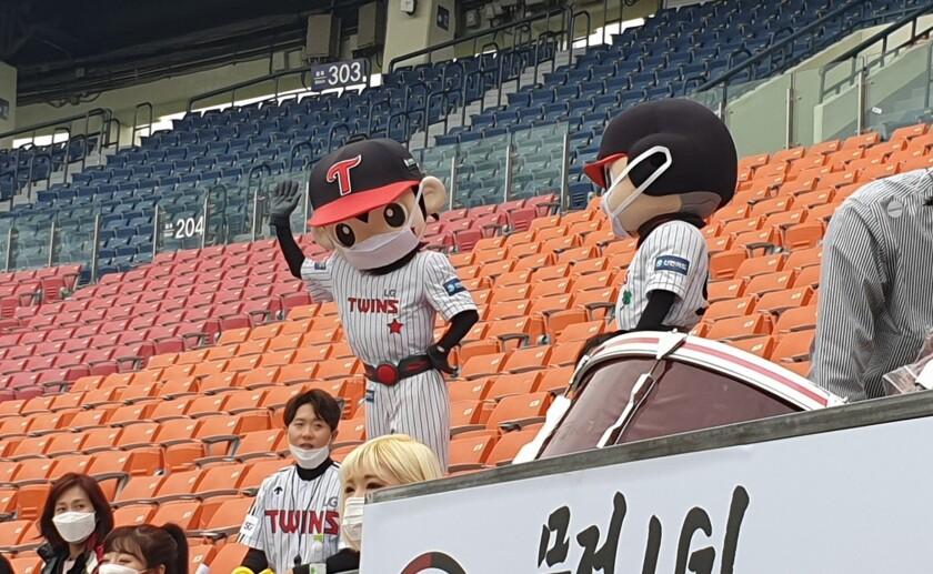 Even the LG Twins mascots wore masks during the team's Korea Baseball Organization season opener against the Doosan Bears on Tuesday.