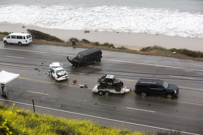 Shown is the scene of the Feb. 7 crash in which Kim Howe, 69, of Calabasas, died.