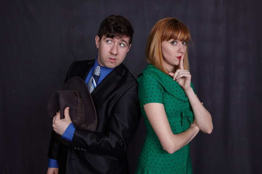 "Elliot Lazar and Sarah Errington in North Coast Rep's ""Another Roll of the Dice."""