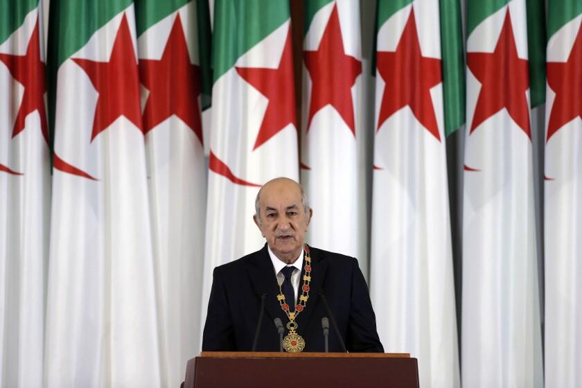 Algerian President Abdelmadjid Tebboune delivers an inauguration speech in December 2019.