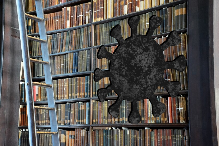 A bookcase with a coronavirus shape cut into it.